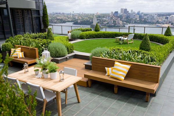 cỏ nhân tạo trên sân thượng